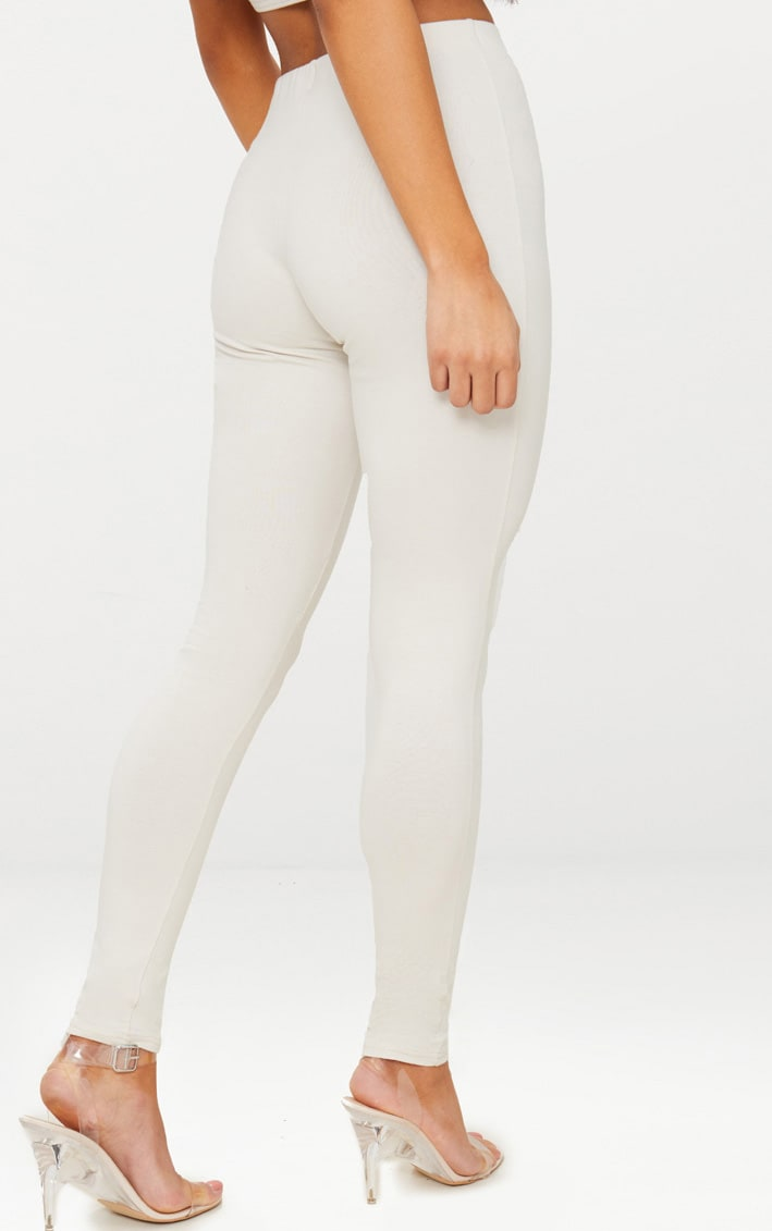 Cream High Waisted Cotton Stretch Leggings  3