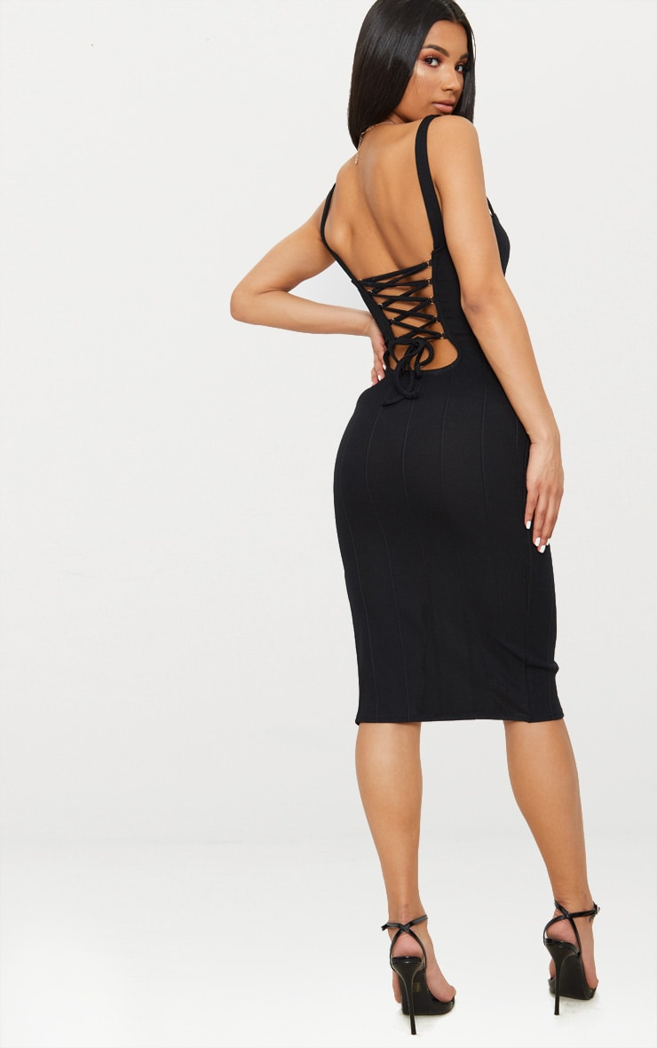 Black Bandage Lace Up Back Midi Dress 1