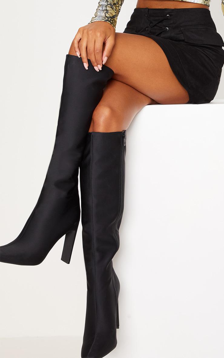 Black Knee High Heeled Boot 2