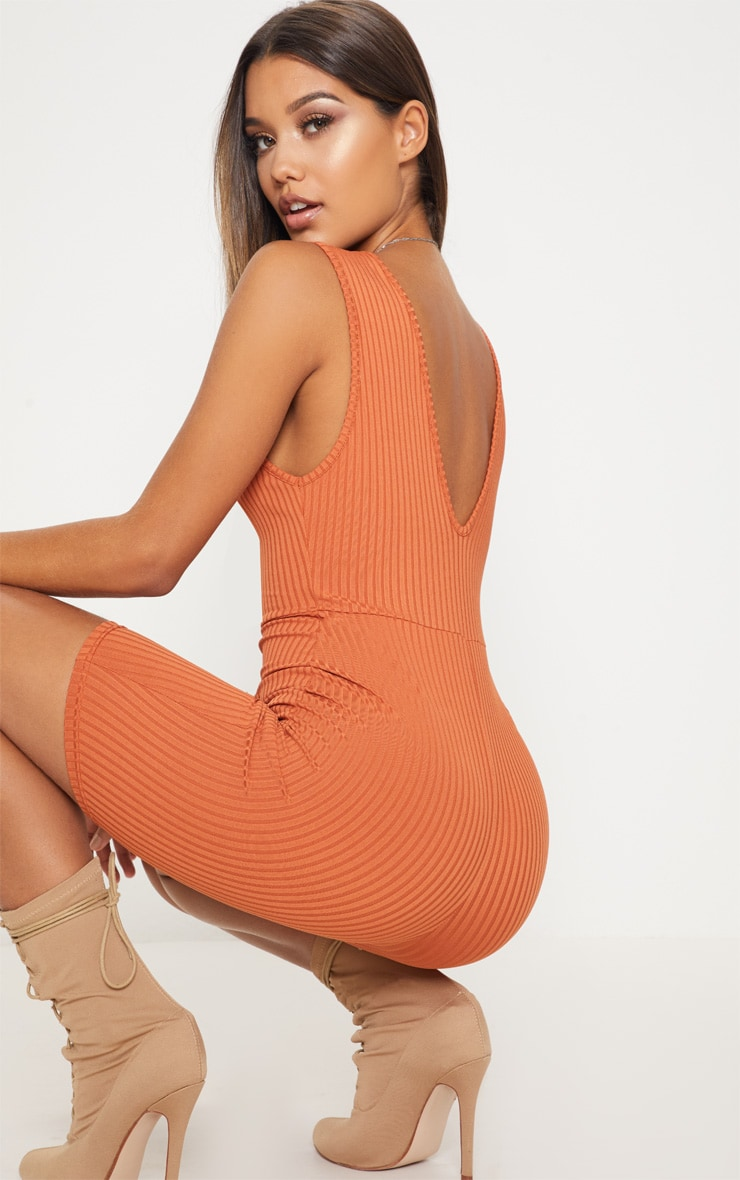 Burnt Orange Ribbed Plunge Sleeveless Unitard 2