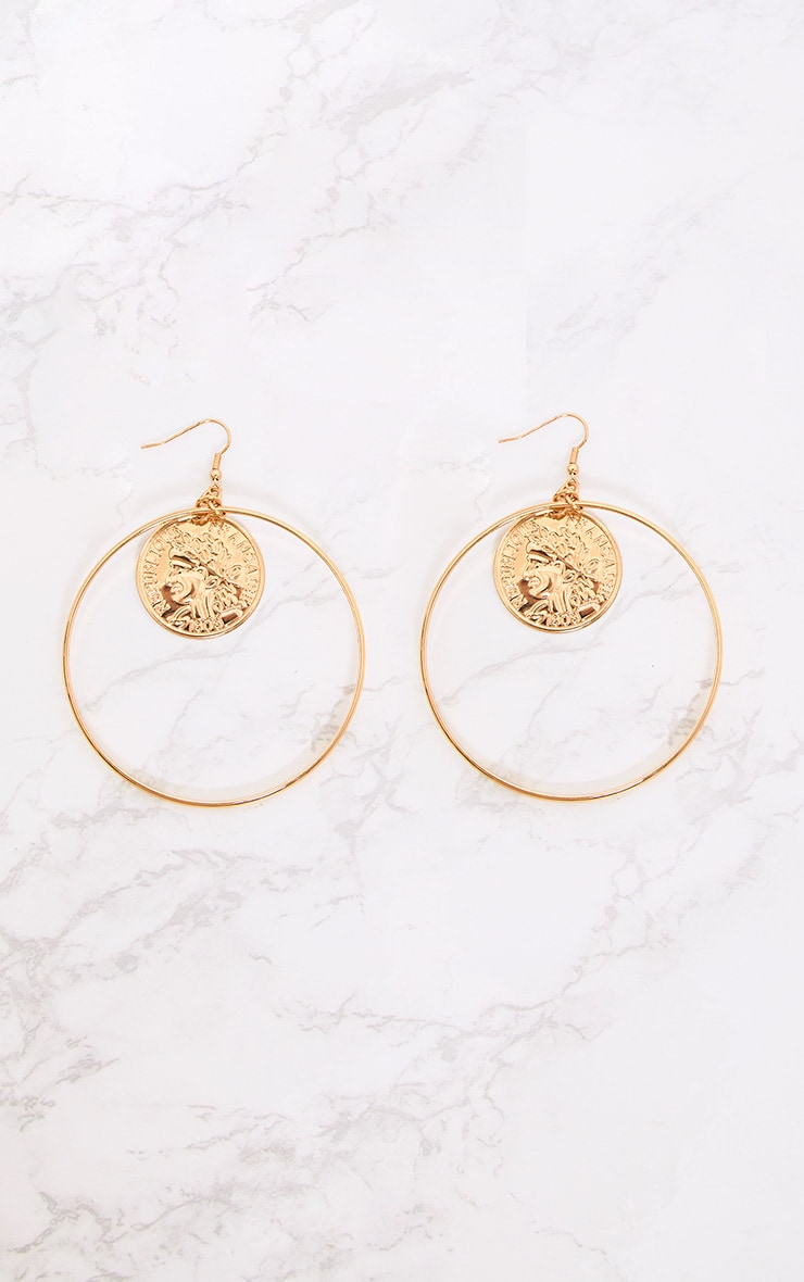 Gold Oversized Coin Middle Hoop Earrings 3