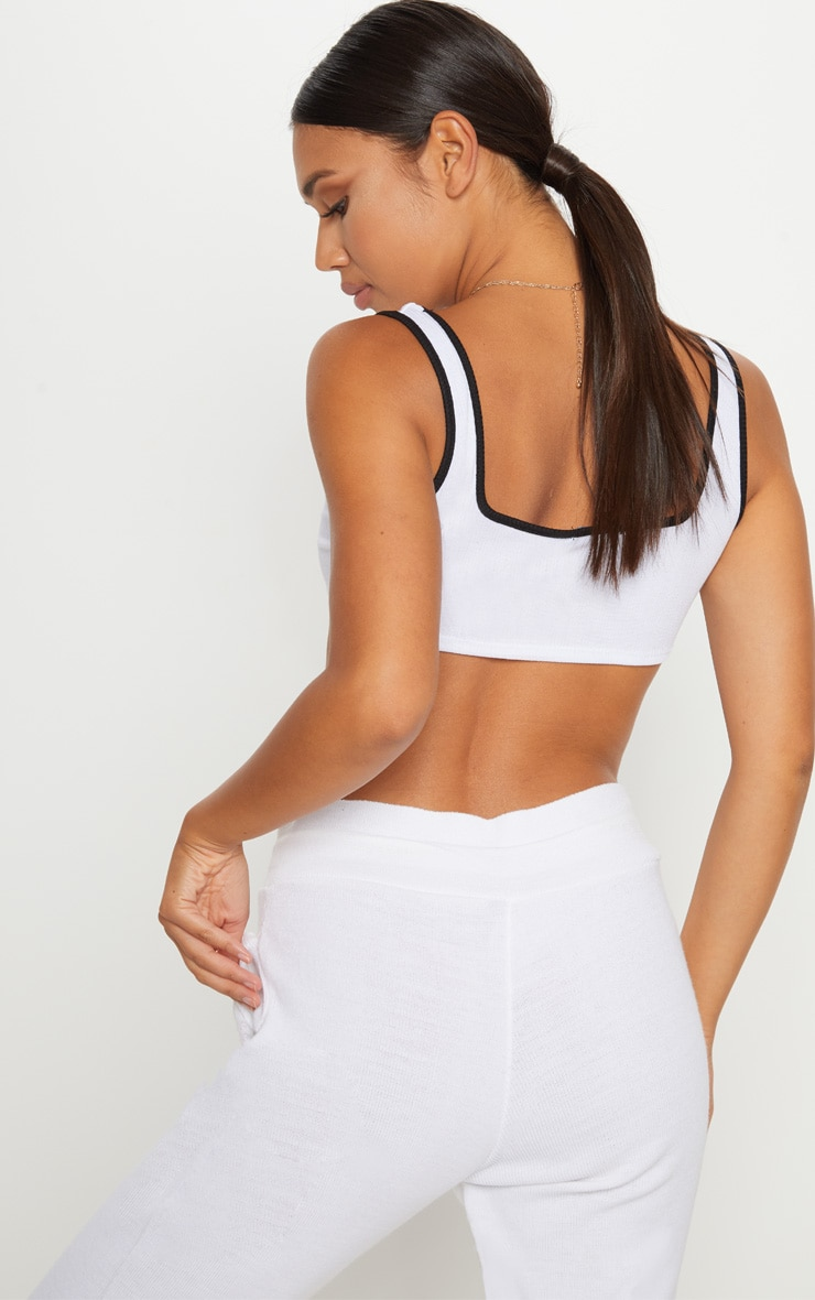 White Contrast Rib Extreme Crop Top 2