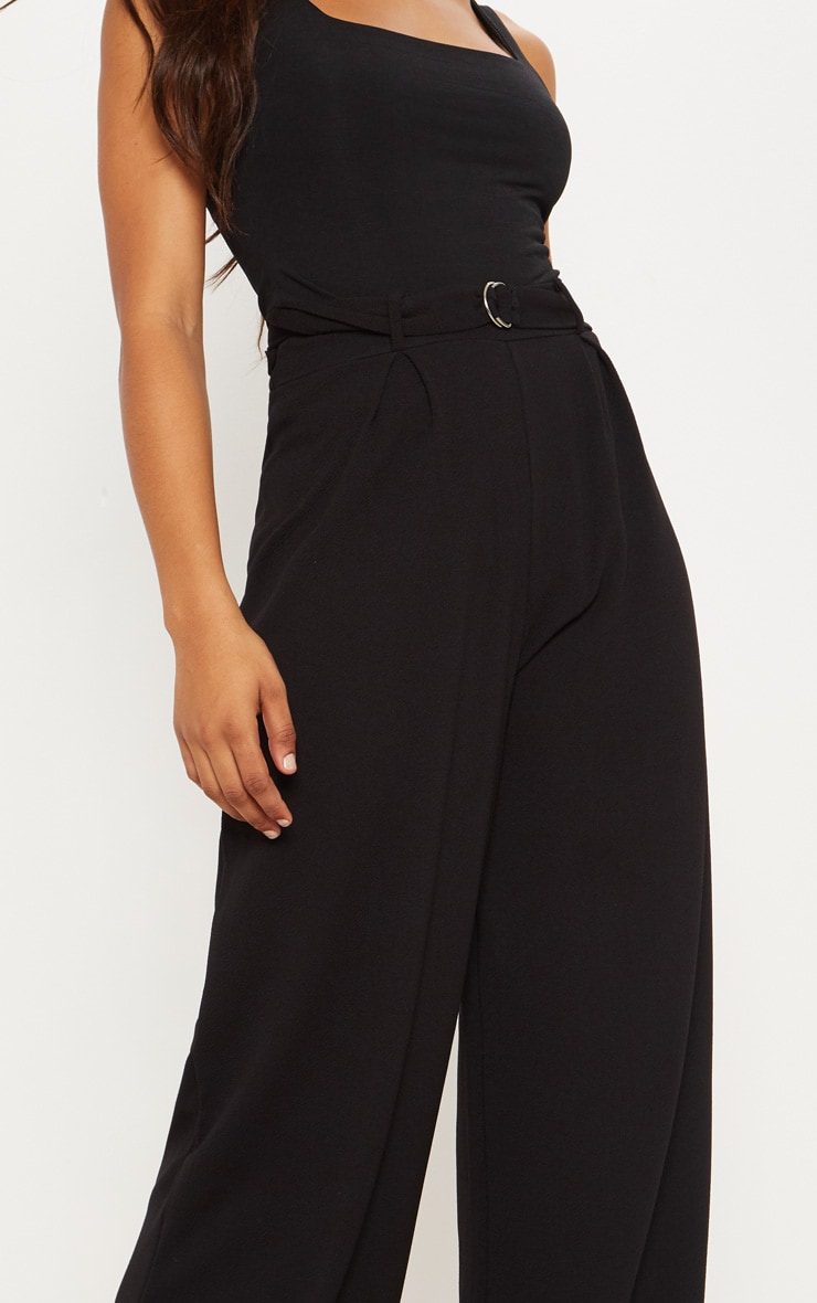 Tall Black Ring Detail Pleated Wide Leg Pants 5