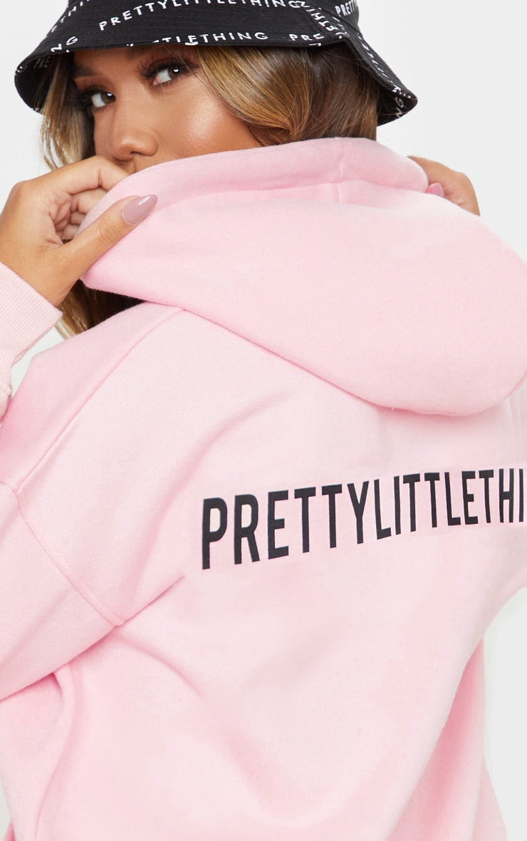 PRETTYLITTLETHING Light Pink Slogan Oversized Pocket Hoodie 4