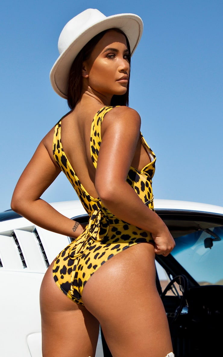 Yellow Cheetah Cut Out Wrap Around Swimsuit 2