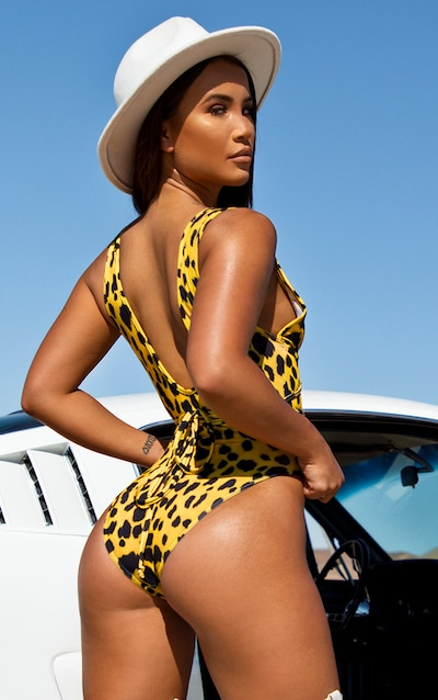Yellow Cheetah Cut Out Wrap Around Swimsuit
