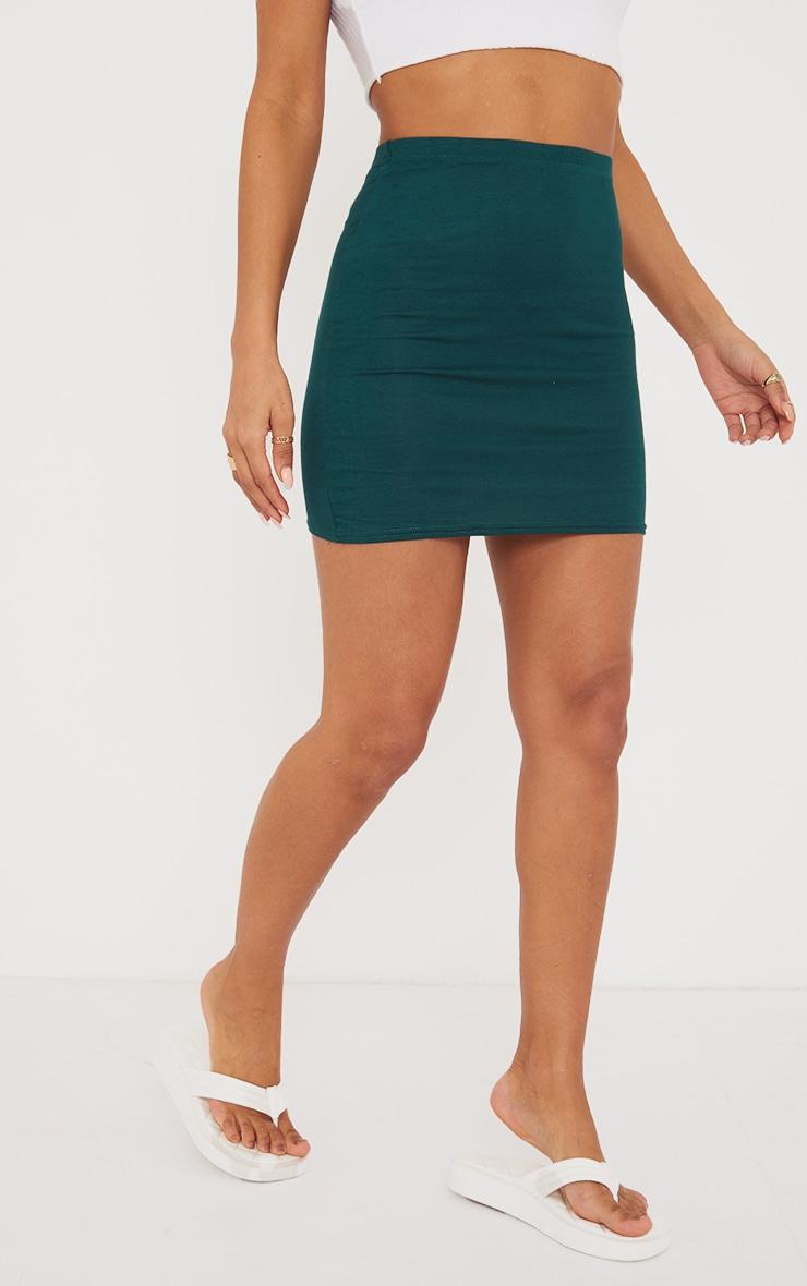 Forest Green Basic Jersey Mini Skirt 2