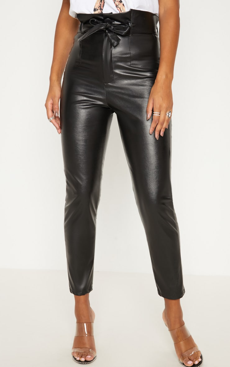 Black Faux Leather Tie Waist Cigarette Trouser 2
