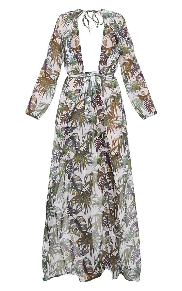 White Palm Print Backless Tie Waist Beach Kimono 5