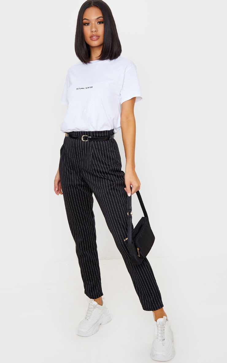 Black Pinstripe Belted Skinny Trousers 1