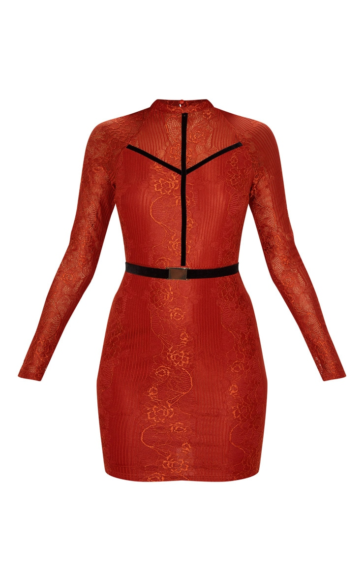 Rust Ribbed Lace Backless Bodycon Dress 3