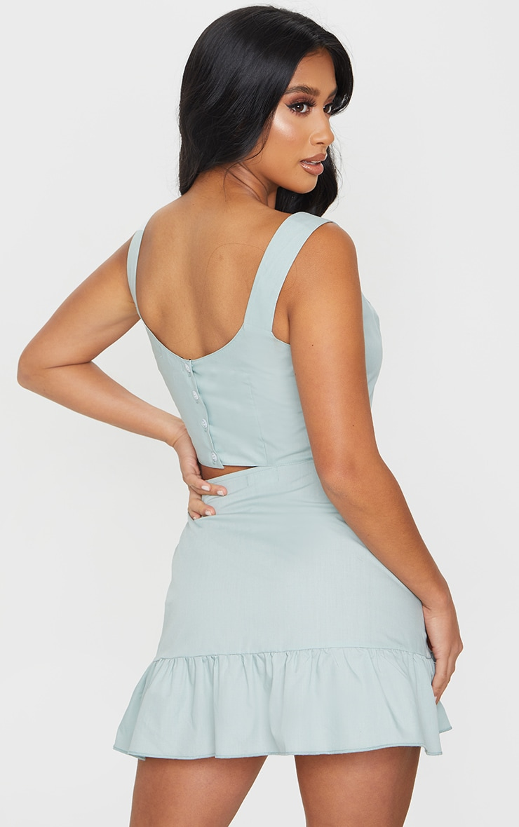 Petite Sage Green Button Back Strappy Crop Top 2