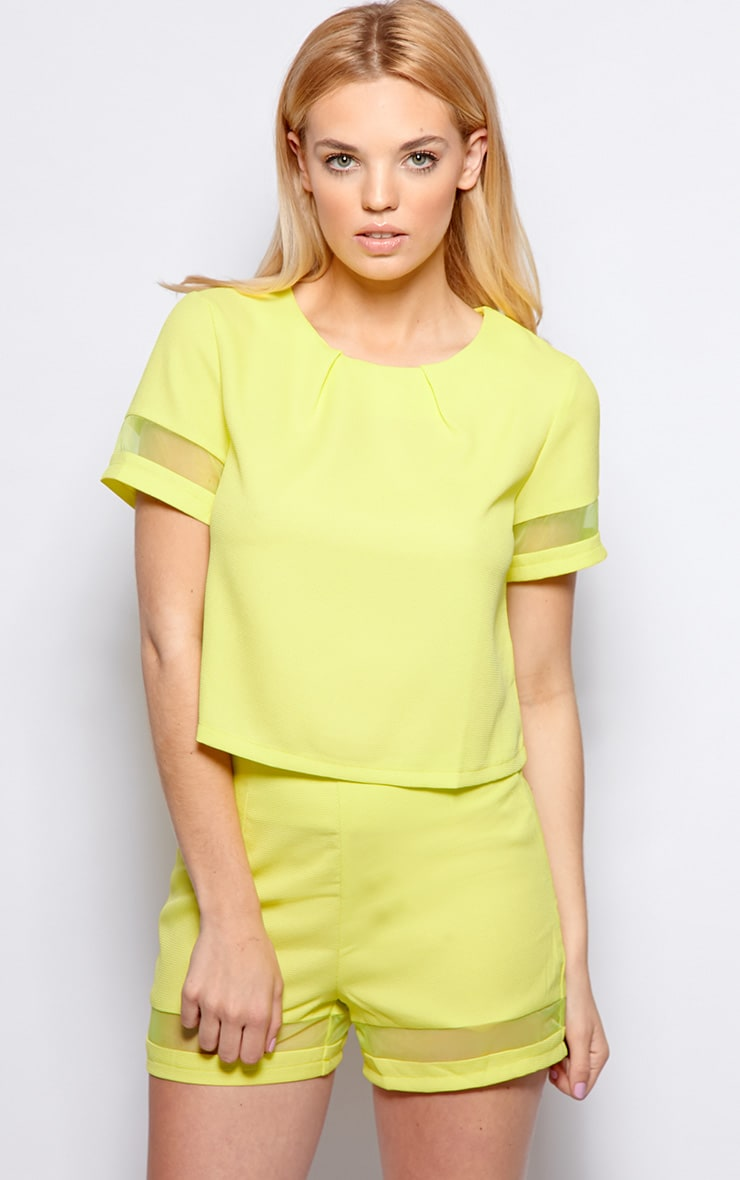 Alyssa Lime Mesh Insert Short  1