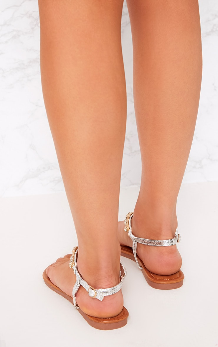 Adela Silver Jewelled Sandals 4