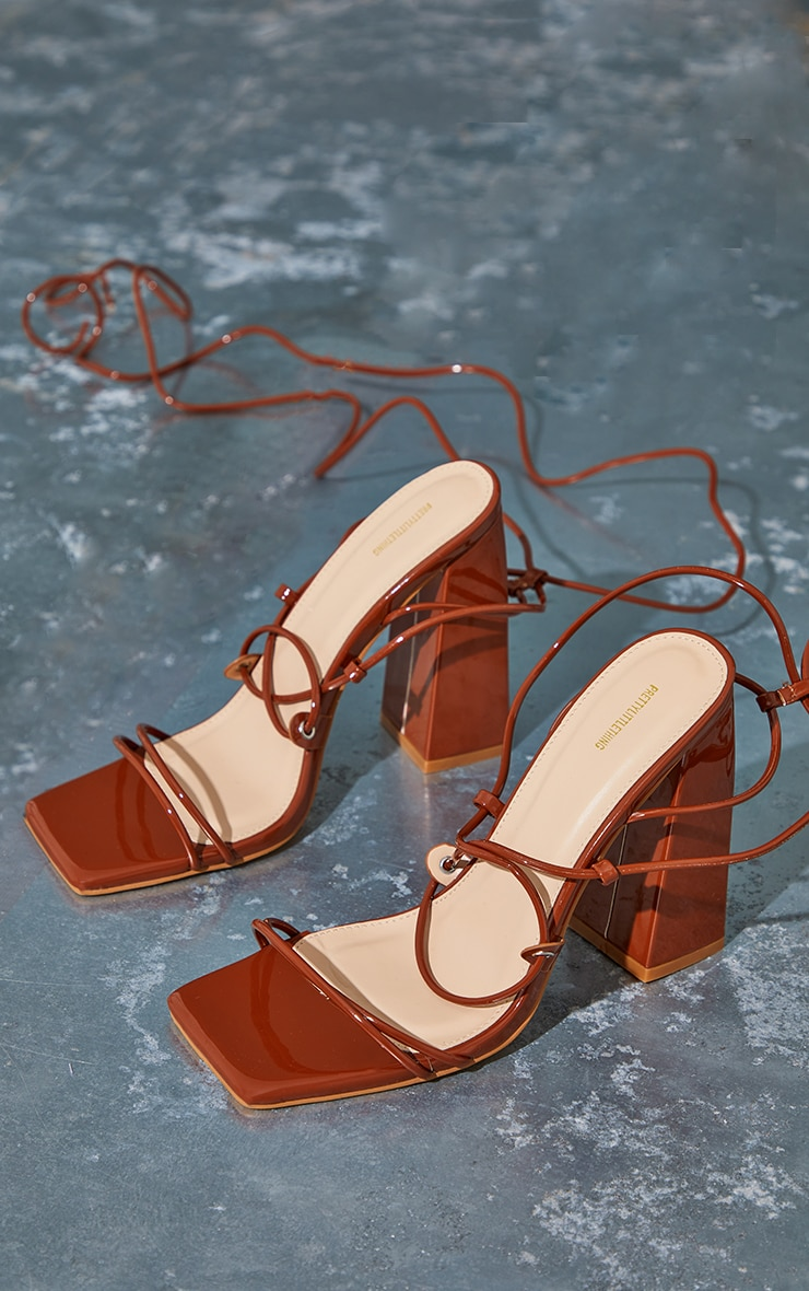 Toffee Patent PU Square Toe Strappy Block Heel Sandals 3
