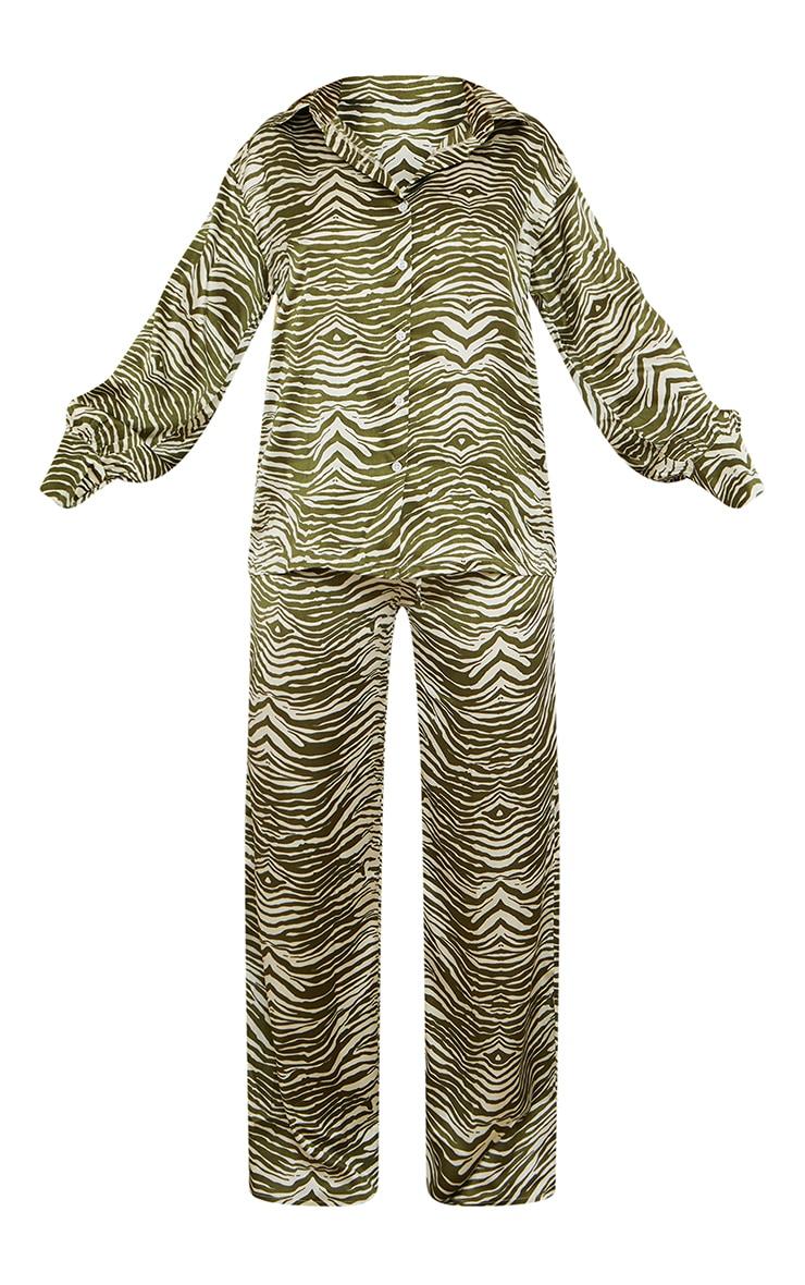 Olive Zebra Print Oversized Long Satin PJ Set 5