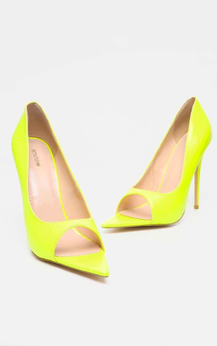 Neon Yellow Open Toe Point Court Shoe 3