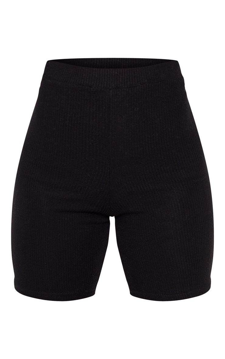 Petite Black Brushed Rib Cycle Short  3