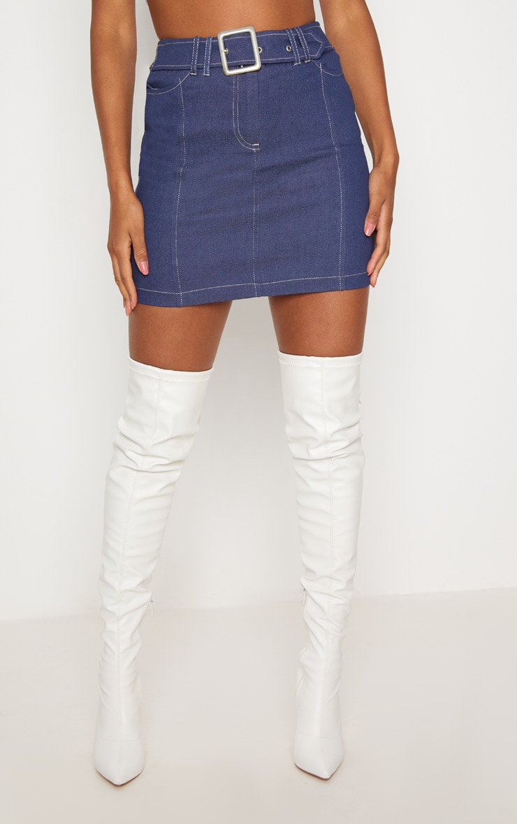 Mid Wash Denim Buckle Skirt  2