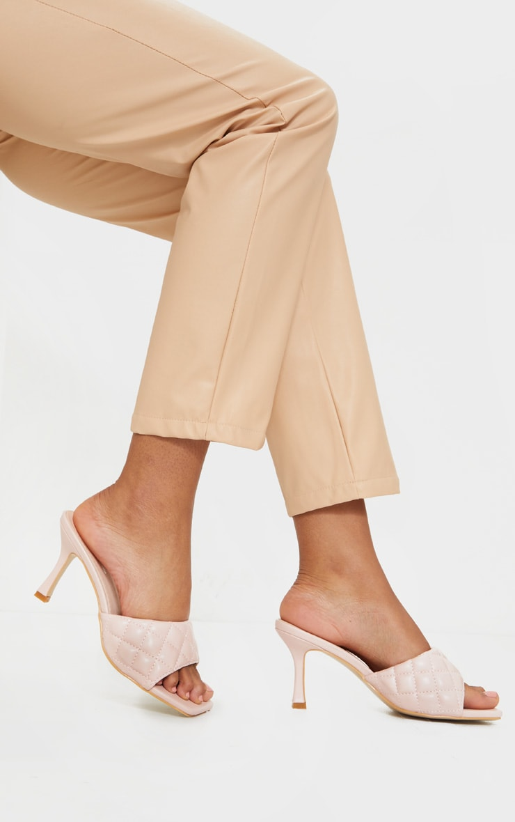 Pale Pink Quilted Square Toe Low Heel Mule 2