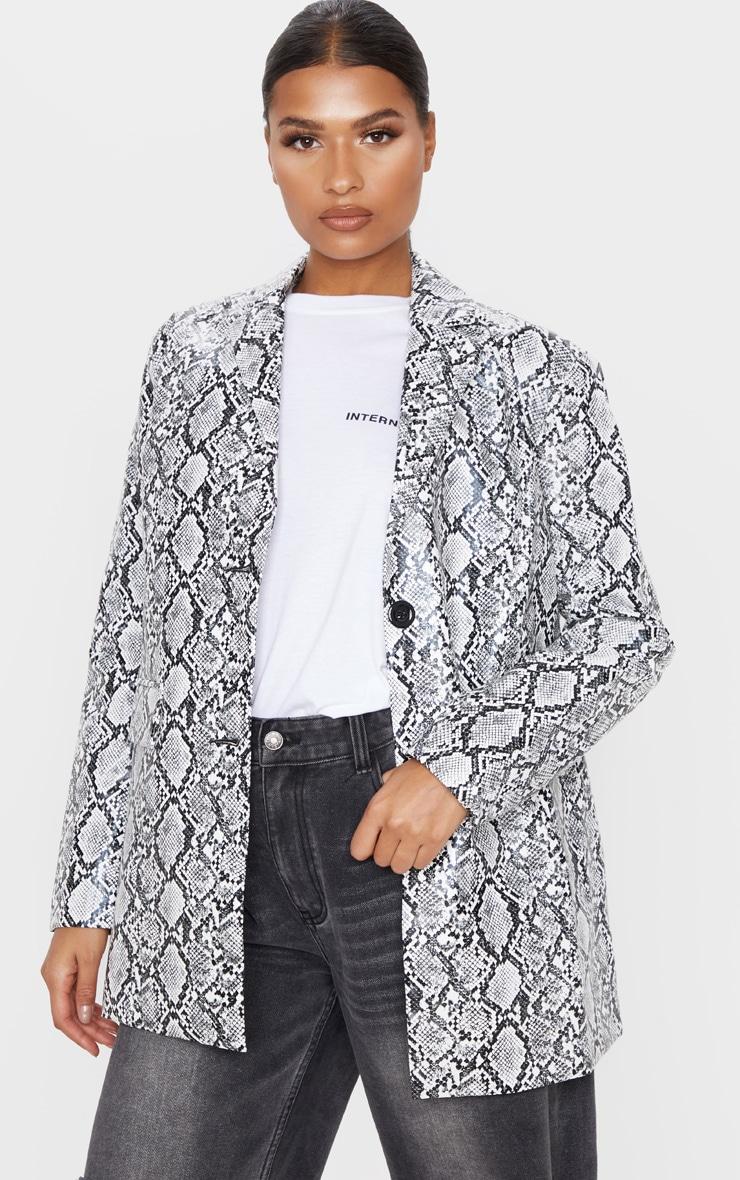 Grey Snake Faux Leather Oversized Dad Blazer 1