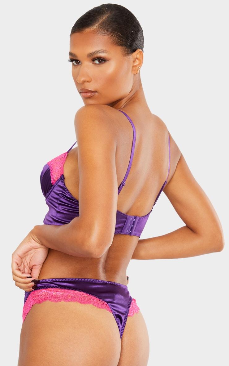 Purple Lace Trim Satin Thong 3