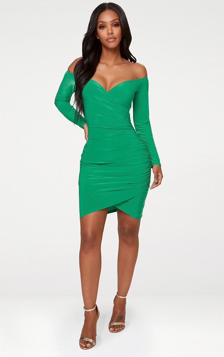 Shape Bright Green Slinky Ruched Detail Bardot Dress  3