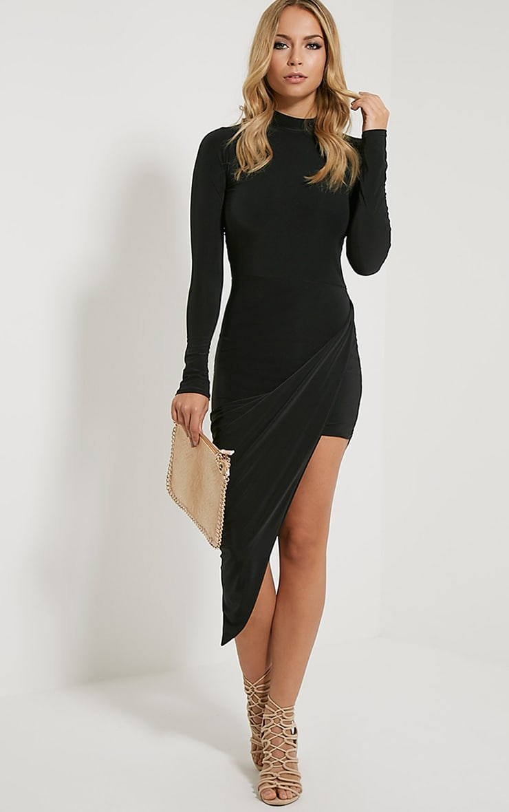 Saffy Black Long Sleeve Drape Dress 1