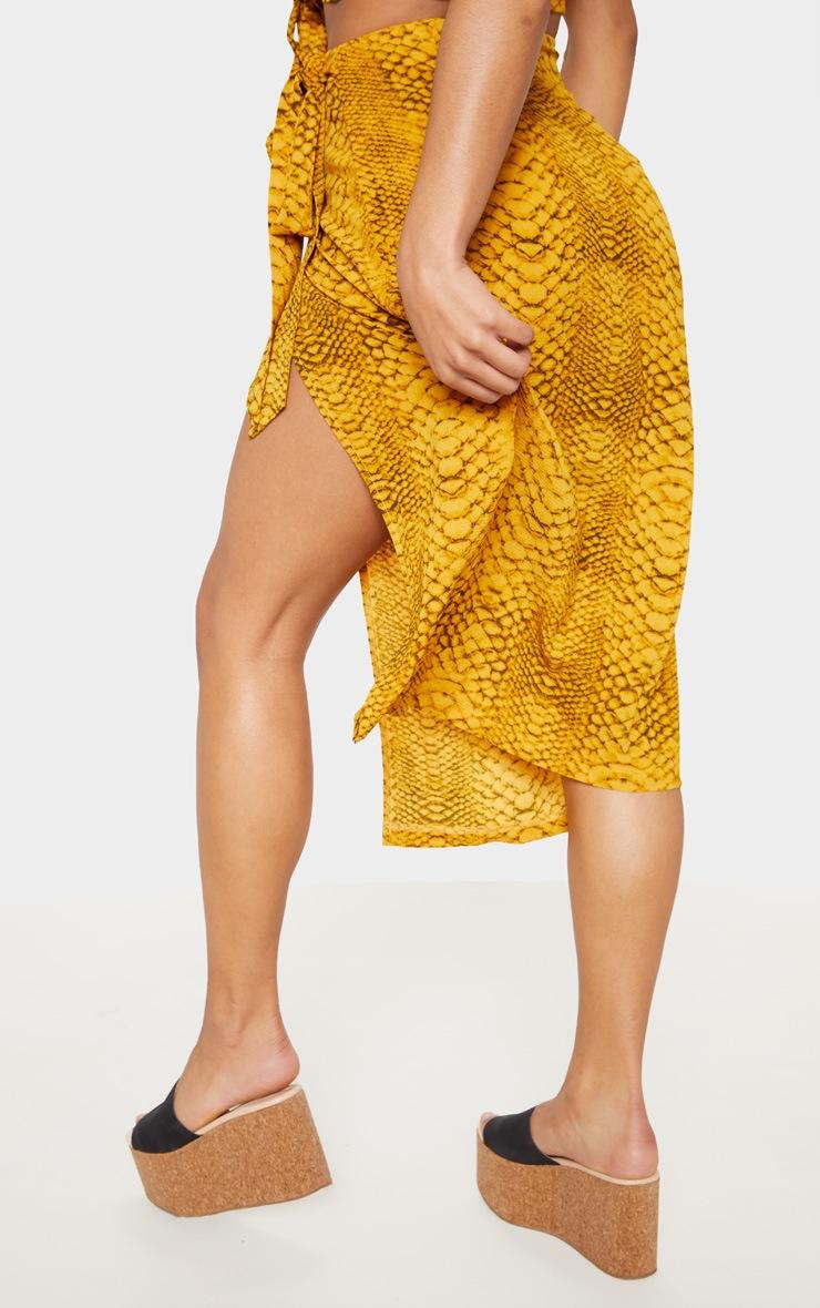 Mustard Snake Print Tie Side Midi Skirt 4