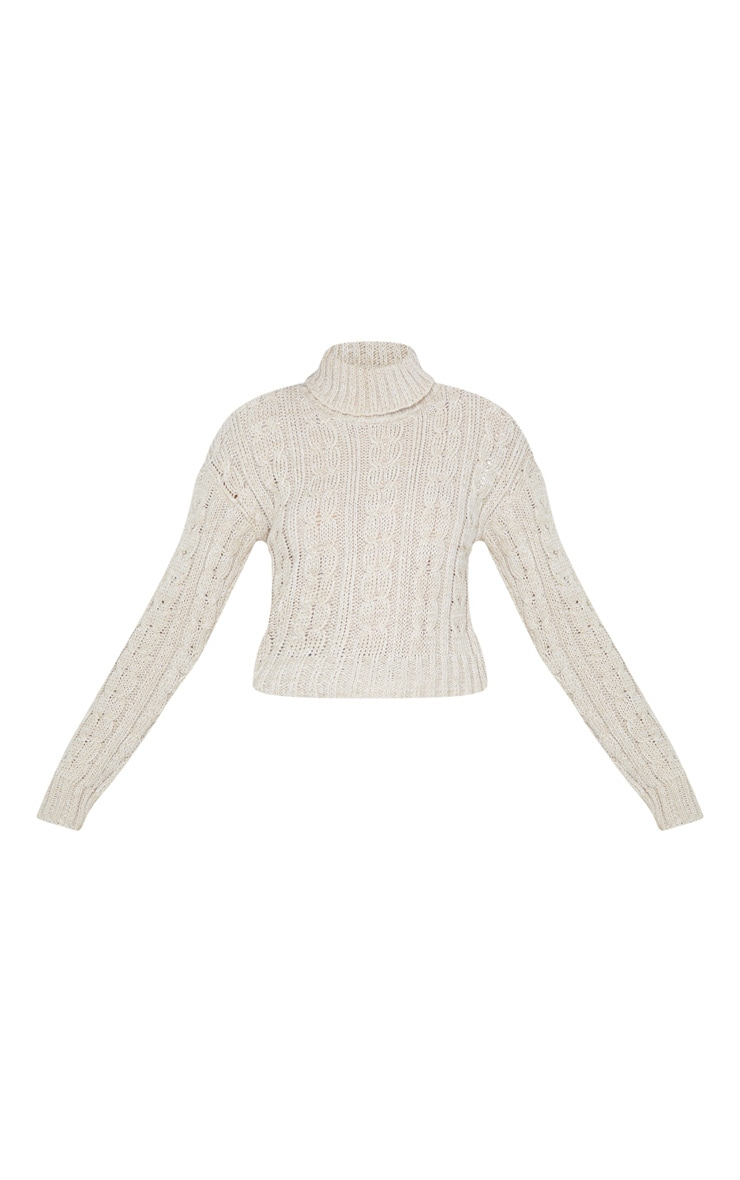 Oatmeal All Over Cable Knit Roll Neck Crop Jumper 3