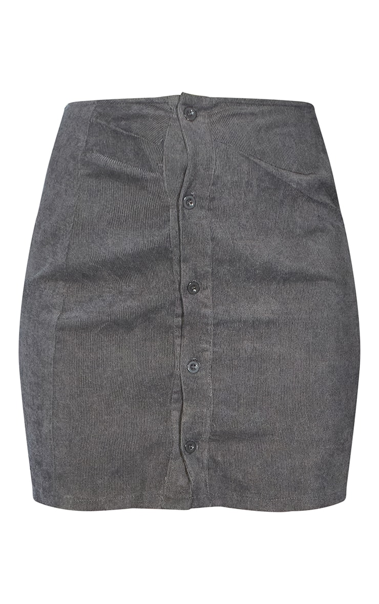 Charcoal Grey Cord Button Front Mini Skirt 7