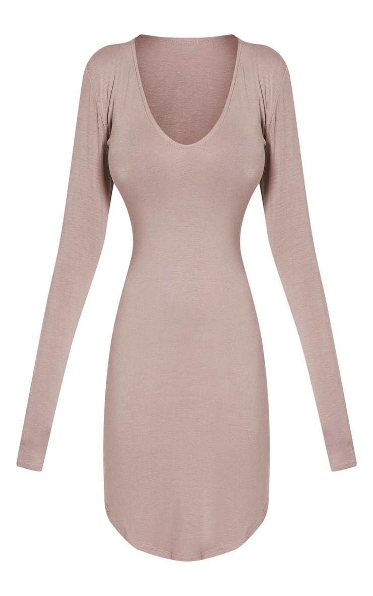 Alby Taupe Curve Hem Plunge Neck Dress 3