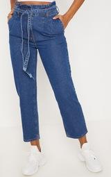 Dark Wash Straight Leg Paperbag Jean 2