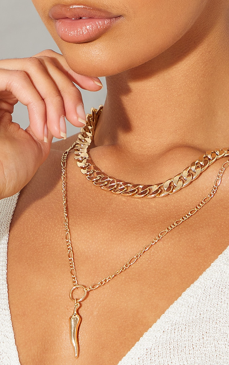 Gold Double Curb Chain Gold Chilli Necklace 2