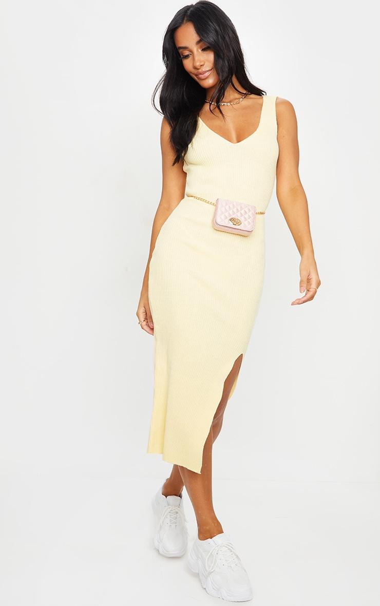 Yellow V Neck Side Split Knitted Midi Dress 1