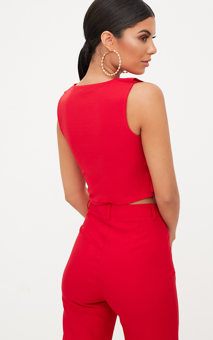 Red Wrap Frill Crop Top  2