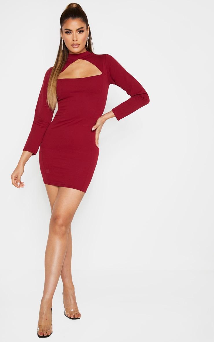 Tall Burgundy High Neck Cut Out Long Sleeve Dress 4