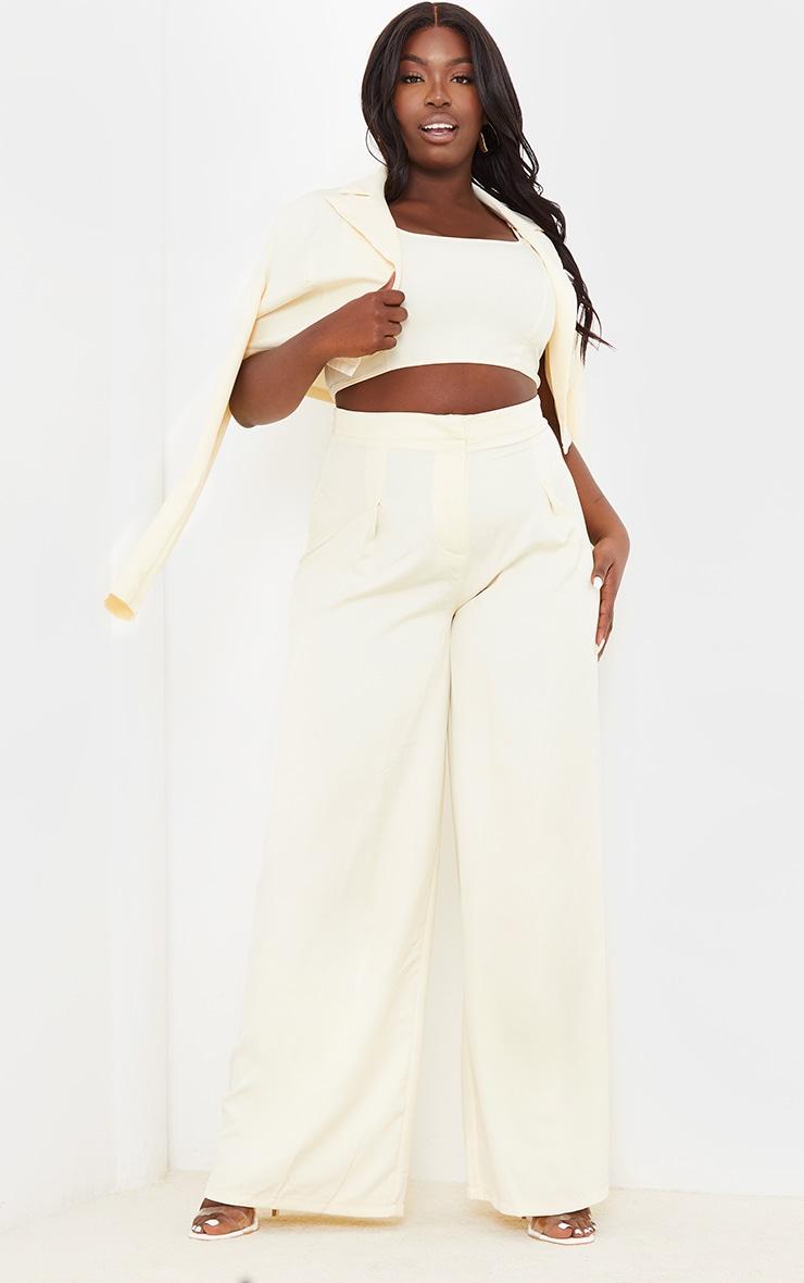 PLT Plus - Crop top en maille tissée crème à détail coutures  3
