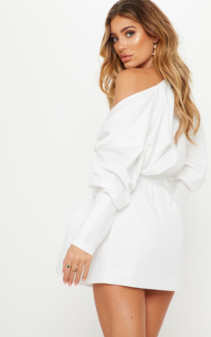 White Plunge Ruched Shirt Dress 2