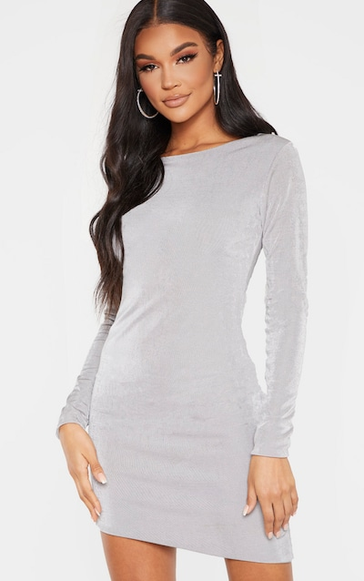 Silver Textured Slinky Long Sleeve Bodycon Dress