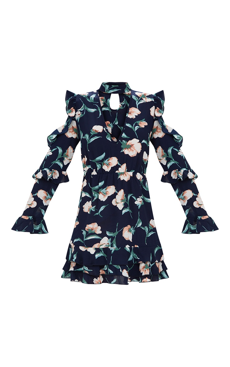 Navy Floral Choker Detail Bodycon Dress 3