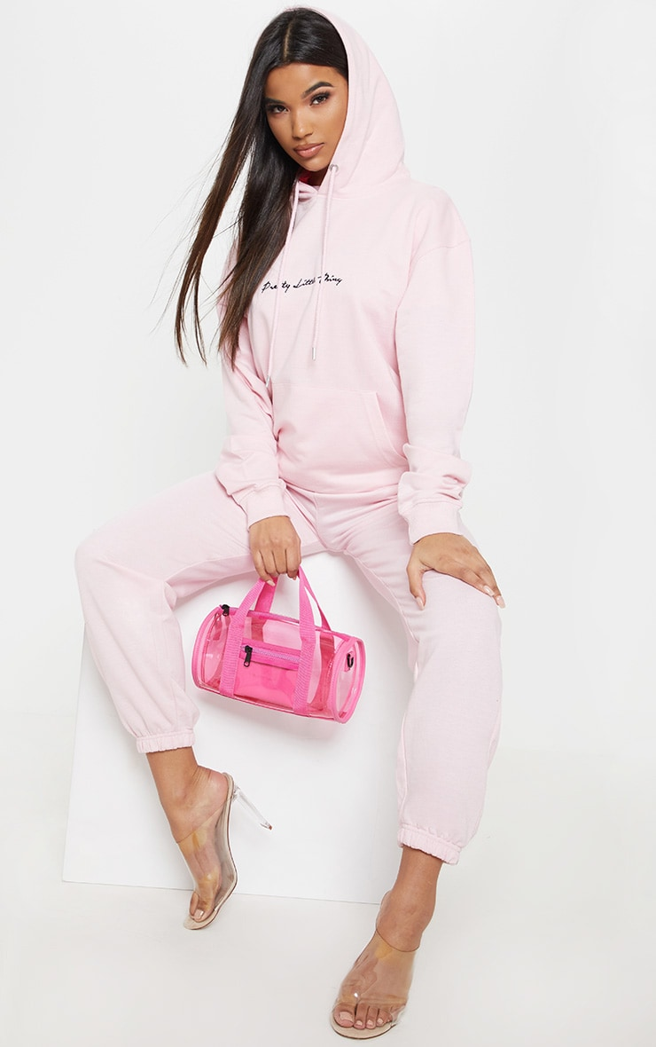 PRETTYLITTLETHING Baby Pink Embroidered Oversized Hoodie 4