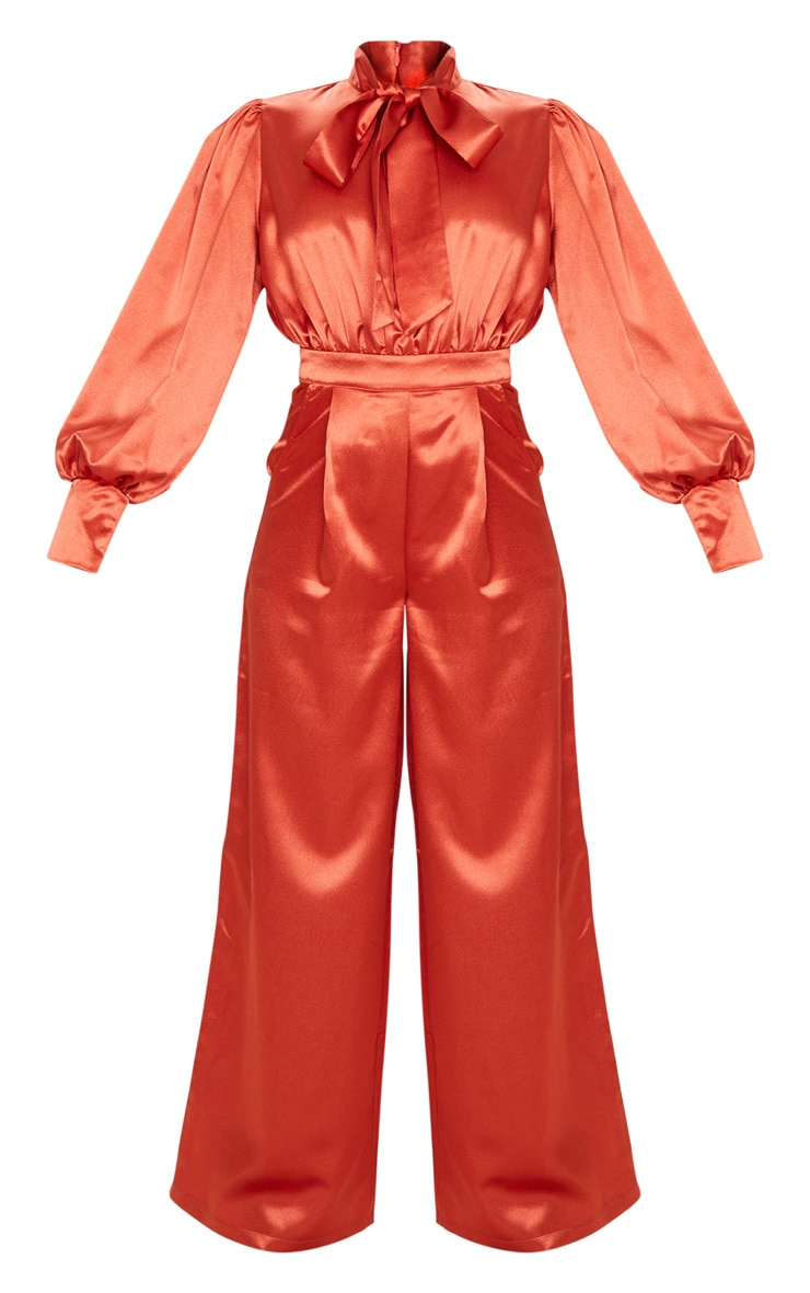 Rust Hammered Satin Bow Neck Tie Long Sleeve Jumpsuit 3