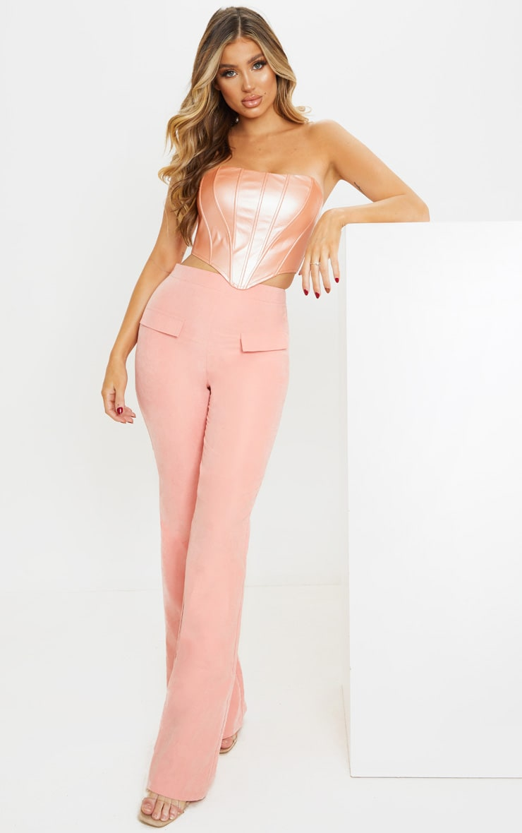 Pink Peach Skin Pocket Flared Trousers image 1