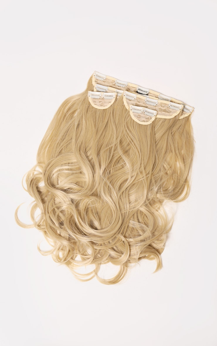 LullaBellz Super Thick 22'5 Piece Blow Dry Wavy Clip In Hair Extensions Light Golden Blonde 2