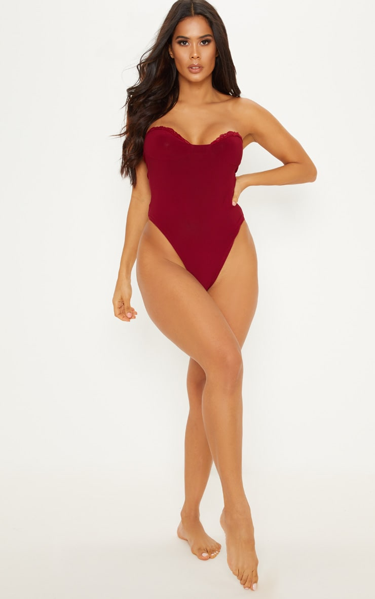 Burgundy Strapless Basic Lace Trim Body 5