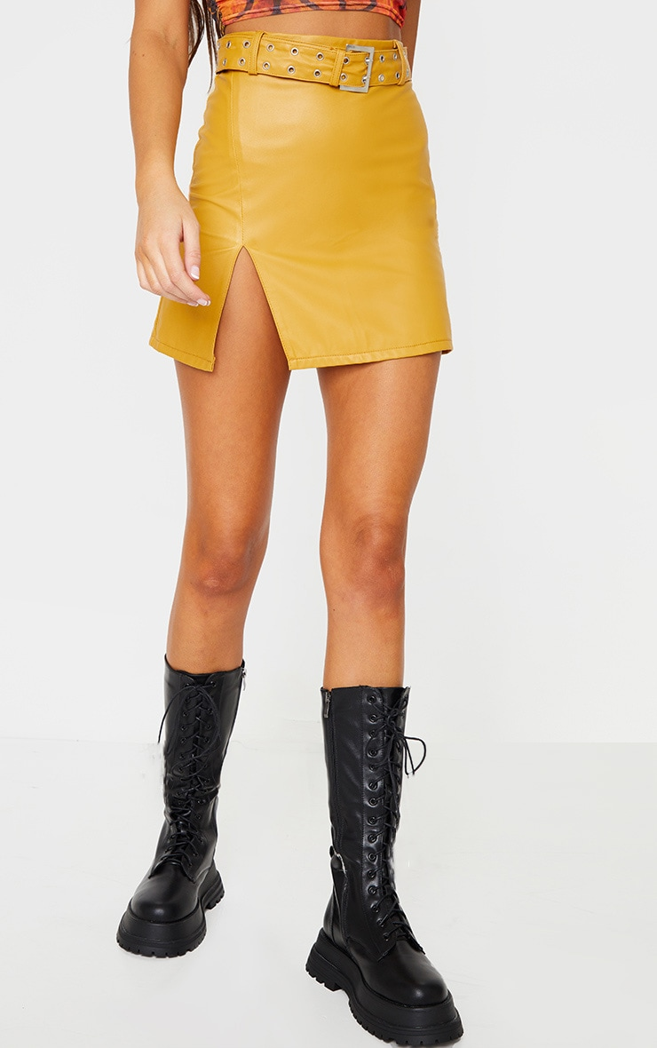 Mustard Faux Leather Belted Mini Skirt 2