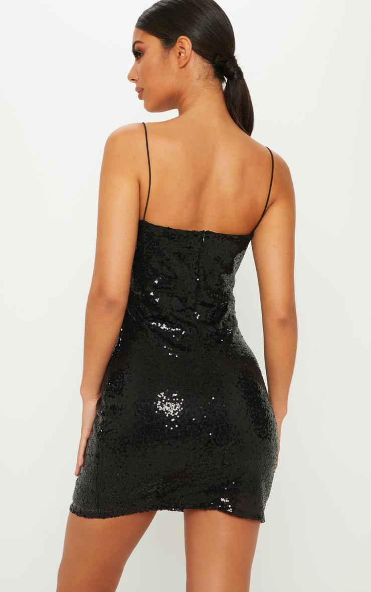 Black Sequin Bodycon Dress 2