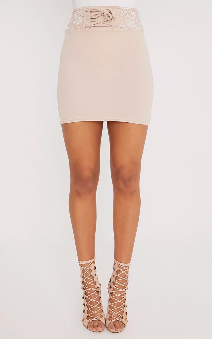 Zayla Nude Lace Detail Corset Mini Skirt 2