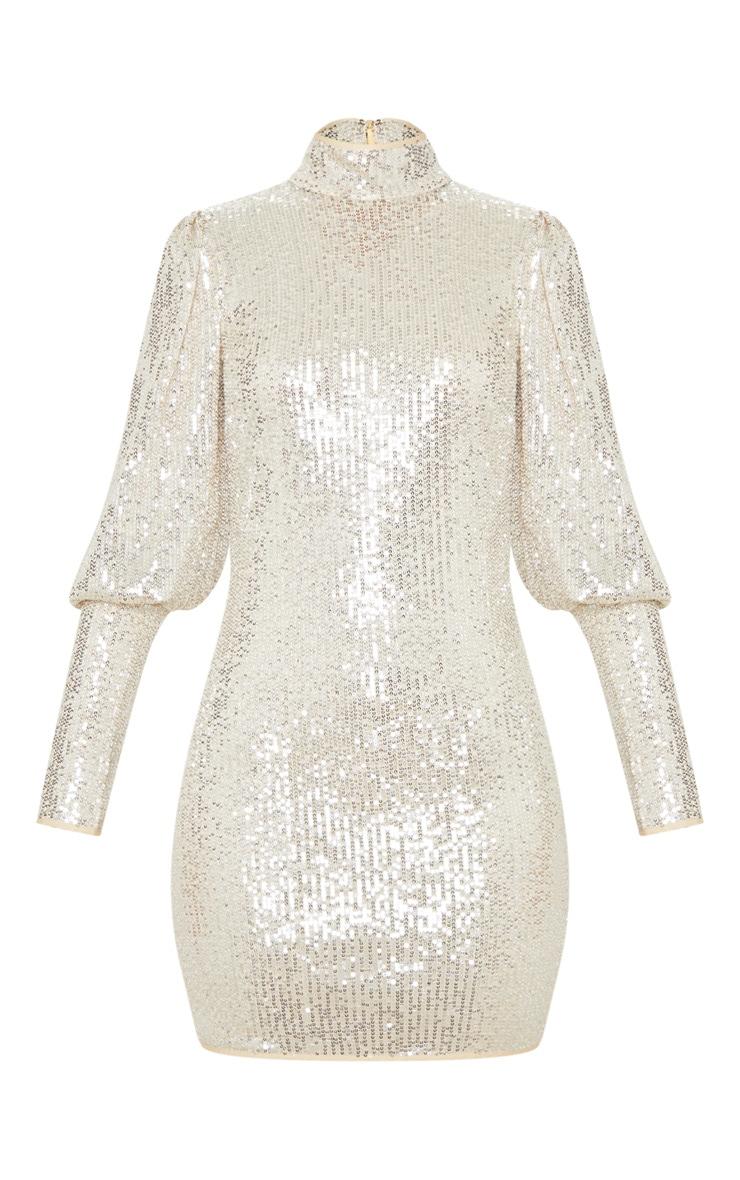 Silver Sequin Puff Sleeve Bodycon Dress 3